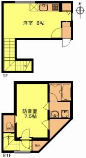 新築防音賃貸メリオール、103号室、メゾネットタイプです。このタイプだけキッチンが3口ガスコンロです。