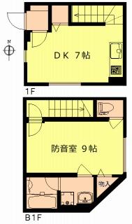 新築防音賃貸メリオール、102号室、メゾネットタイプです。防音室が3タイプ中一番大きい9帖タイプです。
