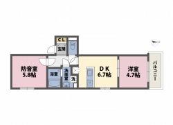 24時間演奏可の防音マンションOAKS江古田ラシクラス 2DKの間取