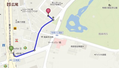 『有栖川DUPLEX』 地図 港区広尾にある防音室が付いている新築マンション 有栖川DUPLEX は広尾駅から徒歩3分です。
