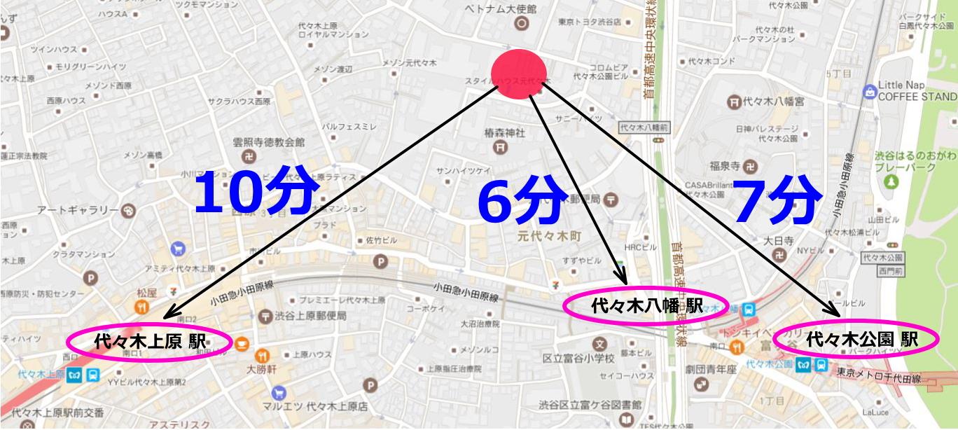 防音 渋谷区 代々木上原 代々木八幡 代々木公園 防音室 マンション 地図