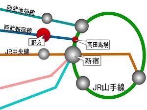 高田馬場 新宿 池袋 にアクセス抜群の野方駅