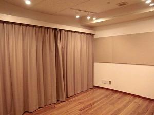 麻布防音スタジオ・スタジオ内 カーテン付
