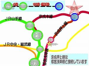 24時間 演奏可 防音室 の 東京都 葛飾区 青砥 の 防音 音楽マンション 金線 路線図