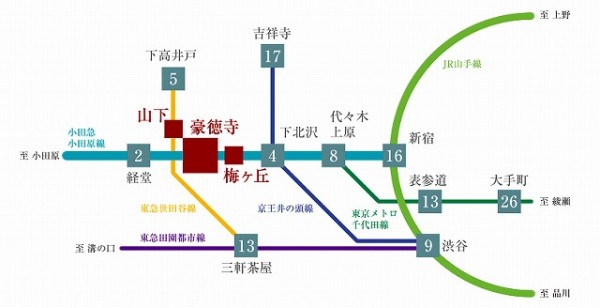 新築防音マンション レリアモード豪徳寺の小田急線 京王線 東急線マップ