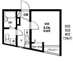 防音マンション「カンタービレ横浜」間取り1Kタイプ