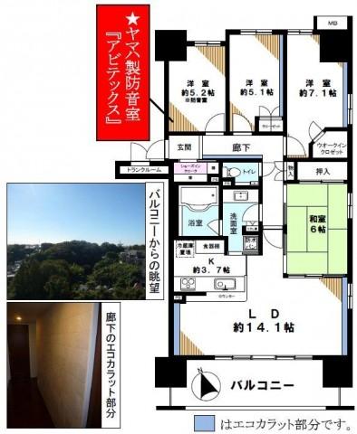 川崎市の防音室付売り中古分譲マンション4LDK92.50㎡