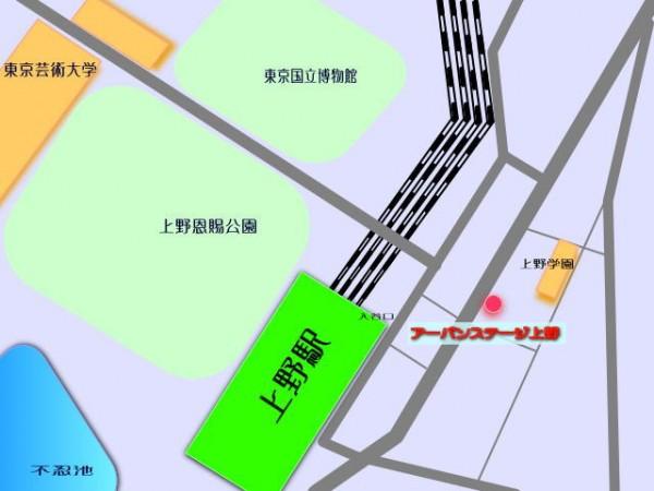 東京芸大 上野学園 に近い JR 山手線 京浜東北線 銀座線の 上野 音楽マンション 周辺地図