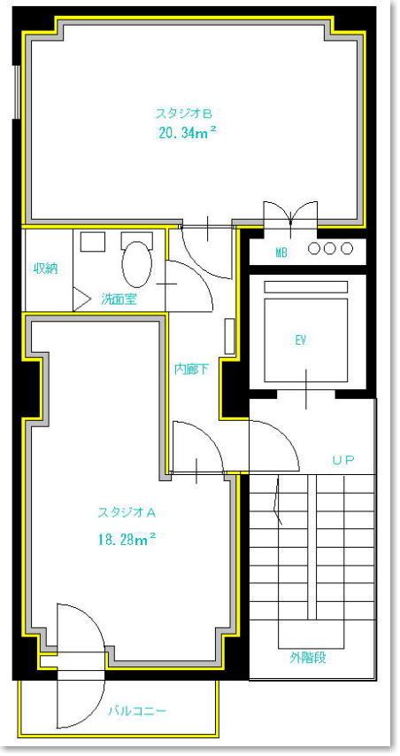 西川口防音スタジオの間取り図面