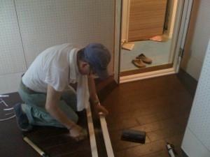 木製防音ドア ドア枠の取付