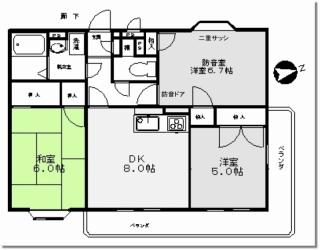 日野市 防音室付き3DKマンション 間取り図