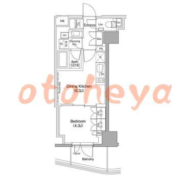 新築の楽器可相談 の 賃貸物件 1DK 16.4万円の図面1