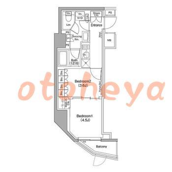新築の楽器可相談 の 賃貸物件 2K 14.7万円の図面1