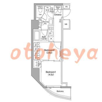 新築の楽器可相談 の 賃貸物件 2K 15.3万円の図面1